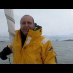 Roberto Rodriguez - Logistics Officer in Expedition Arctic Ocean Predator 2011 - commenting glacier situation in Svalbard